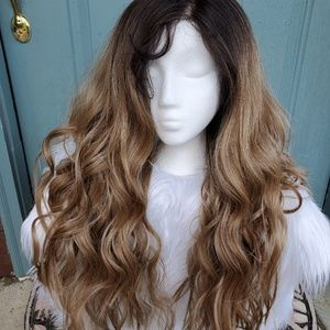 Dirty Blonde Wavy lace Front Wig with baby hairs